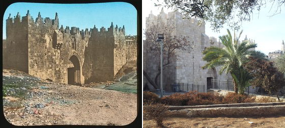 The Damascus gate in Jerusalem then and now photos from the left