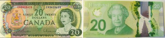 New Canadian 20 Dollar Bill Versus the 70s Version