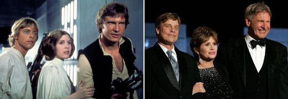 Star Wars - Luke Skywalker, Princess Leia, Han Solo then and now.