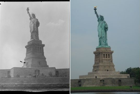 Statue of Liberty (somewhere from 1934 - 1956) and now