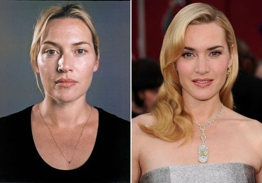 Kate Winslet with and without makeup